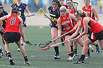 Santa Barbara, CA 02/18/12 - Kaitlin Shumate (Georgia #32), Rachel Stattler (Michigan #26) and Jenna Dreyer (Georgia #6) in action during the Georgia-Michigan matchup at the 2012 Santa Barbara Shootout.  Georgia defeated Michigan 12-10.