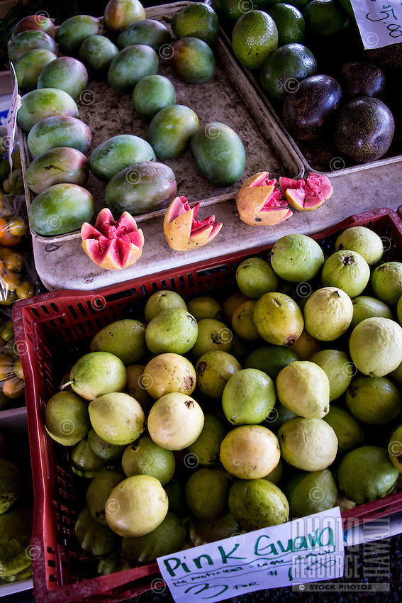 Pink guava, green mangoes and avocadoes at the Hilo Farmers Market on the Big Island of Hawai'i.