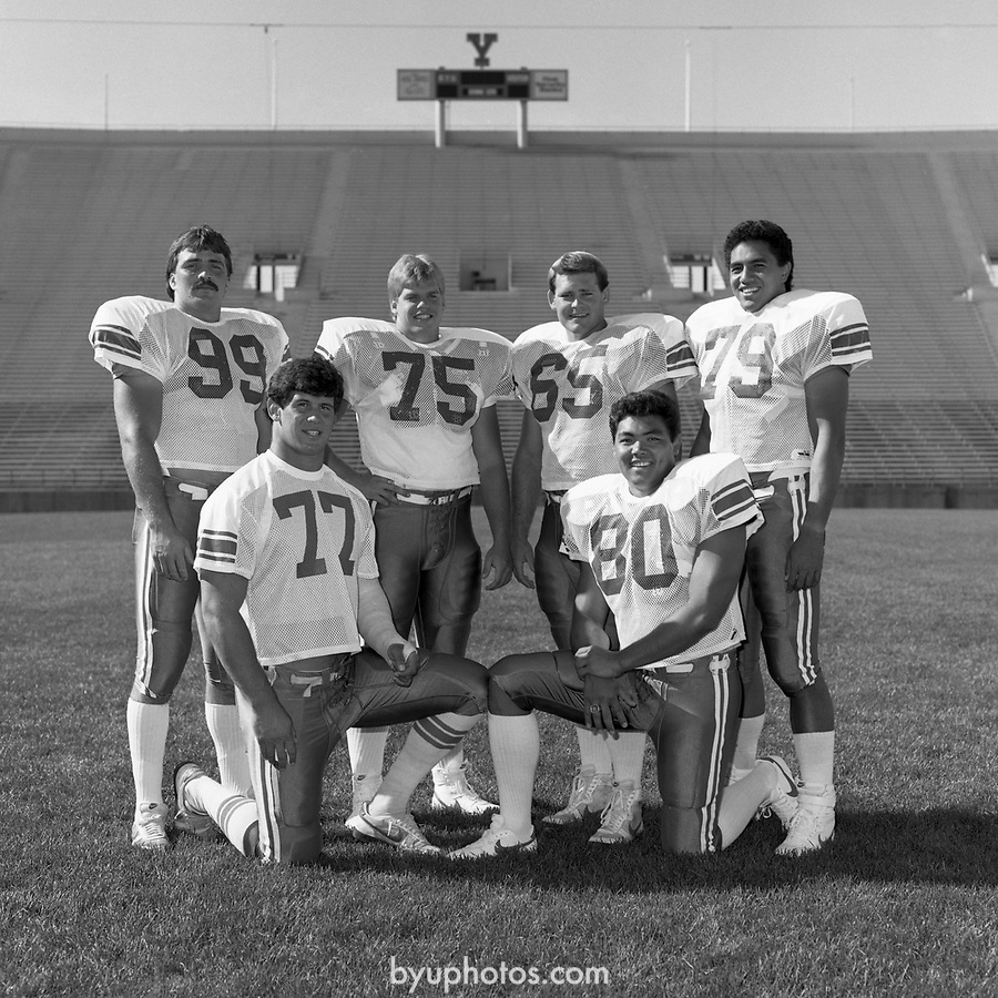 800 Y 5<br /> <br /> FTB 800 A-BB<br /> <br /> Aug 8, 1985<br /> <br /> Football Photoday<br /> -Helmet<br /> -Team<br /> -Coaches, group<br /> <br /> Mark Philbrick, Keith Judd<br /> <br /> BYU Photo 2017<br /> All Rights Reserved<br /> photo@byu.edu <br /> (801) 422-7322