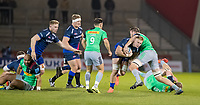 3rd January 2020; AJ Bell Stadium, Salford, Lancashire, England; English Premiership Rugby, Sale Sharks versus Harlequins;  Jean-Luc du Preez  of Sale Sharks is tackled by  Chris Robshaw (Capt) - Editorial Use