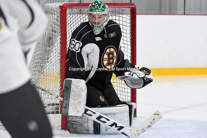 July 14, 2015 - Wilmington, Massachusetts, U.S. - Goalie Zane McIntyre (60) works on drills during the Boston Bruins development camp held at Ristuccia Arena in Wilmington Massachusetts. Eric Canha/CSM