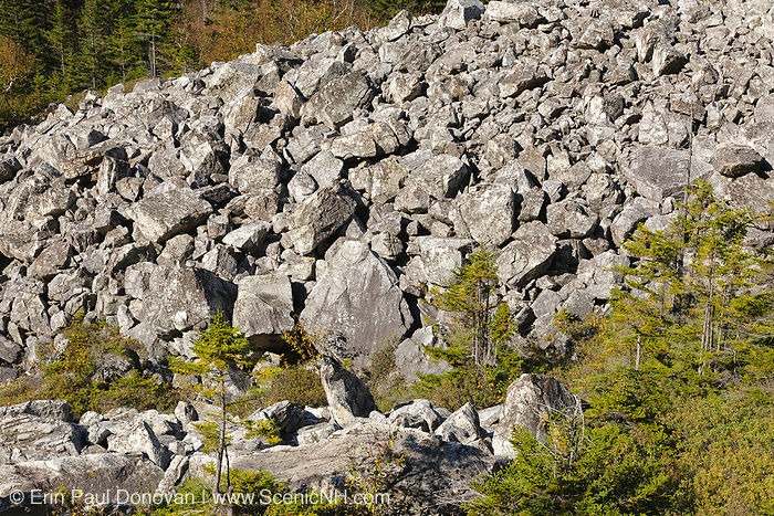 Talus field on the side of Appalachian Trail (Ethan Pond Trail) near Whitewall Mountain in the New Hampshire White Mountains during the autumn months.