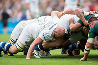 Matt Garvey of Bath Rugby in action at a scrum. Aviva Premiership match, between Leicester Tigers and Bath Rugby on September 3, 2017 at Welford Road in Leicester, England. Photo by: Patrick Khachfe / Onside Images