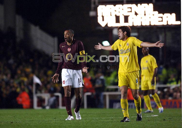 Pix Daniel Hambury/SWpix.com. Football. Champions League Soccer. Season 2005-2006. 02/10/2005. Arsenal v Villarreal...COPYRIGHT PICTURE>>SIMON WILKINSON - SWpix.com>>07811 267 706>>..Arsenals Therry Henry.