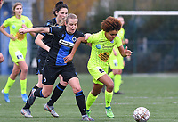 20191123 – BRUGGE, BELGIUM : Brugge's Elle Decorte pictured in a duel with Kassandra Missipo during a women soccer game between Dames Club Brugge and K AA Gent Ladies on the ninth matchday of the Belgian Superleague season 2019-2020 , the Belgian women's football  top division , saturday 23 th November 2019 at the Jan Breydelstadium – terrain 4  in Brugge  , Belgium  .  PHOTO SPORTPIX.BE | DAVID CATRY