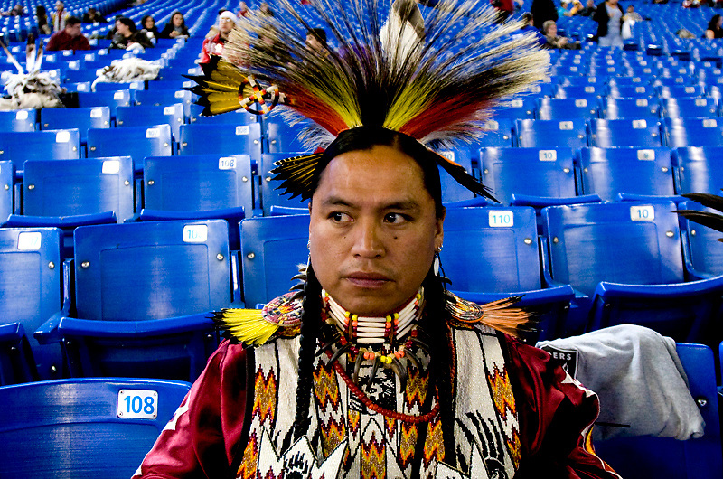 Performer takes a rest at the Pow Wow held every year at the Canadian Aboriginal Festival in Toronto, Canada..December 1, 2007.Photo By:  Natasha Fillion