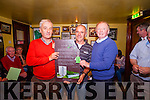 5605: Owen McMahon and Tom McKenna, Chairman, present Tommy Dunn with a trophy after winning the Newly Composed Ballad Competition as part of the Garry McMahon Singing Weekend at The Ramble Inn, Abbeyfeale