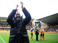 Wolverhampton Wanderers manager Nuno applauds the fans at the final whistle <br /> <br /> Photographer Ashley Crowden/CameraSport<br /> <br /> The EFL Sky Bet Championship - Wolverhampton Wanderers v Birmingham City - Sunday 15th April 2018 - Molineux - Wolverhampton<br /> <br /> World Copyright &copy; 2018 CameraSport. All rights reserved. 43 Linden Ave. Countesthorpe. Leicester. England. LE8 5PG - Tel: +44 (0) 116 277 4147 - admin@camerasport.com - www.camerasport.com