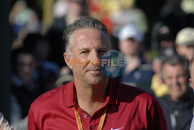 Former England cricketeer Ian Botham among the huge crowd gathered on the 18th green to see Europe triumph over USA during the final day singles matches of the 2006 Ryder Cup at The K Club Saturday 24th September 2006.(Photo Eoin Clarke/Newsfile)