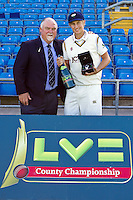 PICTURE BY ALEX WHITEHEAD/SWPIX.COM - Cricket - County Championship Div Two - Yorkshire v Glamorgan, Day 2 - Headingley, Leeds, England - 05/09/12 - Joe Root is presented with the LV= County Championship Breakthrough Player 2012 award by Mike Gatting.