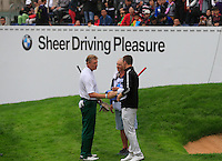 Ernie Els (RSA), Michael Hoey (NIR) and caddy Gerry finish on the 18th green during Saturay's Round 3 of the 2014 BMW Masters held at Lake Malaren, Shanghai, China. 1st November 2014.<br /> Picture: Eoin Clarke www.golffile.ie