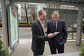 Hamish Watson and Sir George Iacobescu.  Launch of Polysolar photovoltaic bus shelter, Canary Wharf, London.