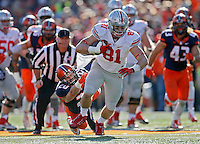 Ohio State Buckeyes tight end Nick Vannett (81) sheds the tackle of Illinois Fighting Illini defensive back Clayton Fejedelem (20) after making a catch in the second half of their game at Memorial Stadium in Champaign, IL on November 14, 2015.  (Dispatch photo by Kyle Robertson)