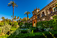 Carlos V Pavilion, The Alcázar of Seville (Real Alcazar) is a royal palace in Seville, Spain, built for the Christian king Peter of Castile.