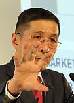 May 11, 2017, Yokohama, Japan - Japan's automobile giant Nissan Motor president Hiroto Saikawa announces the company's financial result ended March 31 at the company's headquarters in Yokohama, suburban Tokyo on Thursday, May 11, 2017. Nissan said its operating profit was 742 billion yen, down 6.4 percent from previous year.   (Photo by Yoshio Tsunoda/AFLO) LwX -ytd-