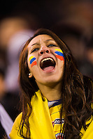 Colombia fan cheers as the teams take the field for warmups. Brazil (BRA) and Colombia (COL) played to a 1-1 tie during international friendly at MetLife Stadium in East Rutherford, NJ, on November 14, 2012.