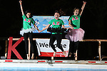 Brooke Courie, left, Tara Batus, center, and Megan Coleman, right, jump for Delta Zeta at the University of Kentucky Phi Sigma Kappa Polar Plunge philanthropy event at South Campus benefitting the Special Olympics in Lexington, Ky., on Thursday, November 14, 2013. Photo by Tessa Lighty | Staff