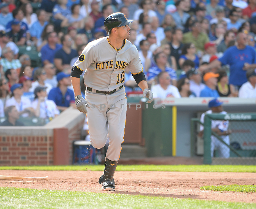 Pittsburgh Pirates Jordy Mercer (10) during a game against the Chicago Cubs on June 20, 2014 at Wrigley Field in Chicago, IL. The Cubs beat the Pirates 6-3.