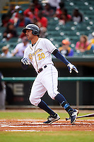 Montgomery Biscuits first baseman Patrick Leonard (20) hits a home run during a game against the Jackson Generals on April 29, 2015 at Riverwalk Stadium in Montgomery, Alabama.  Jackson defeated Montgomery 4-3.  (Mike Janes/Four Seam Images)