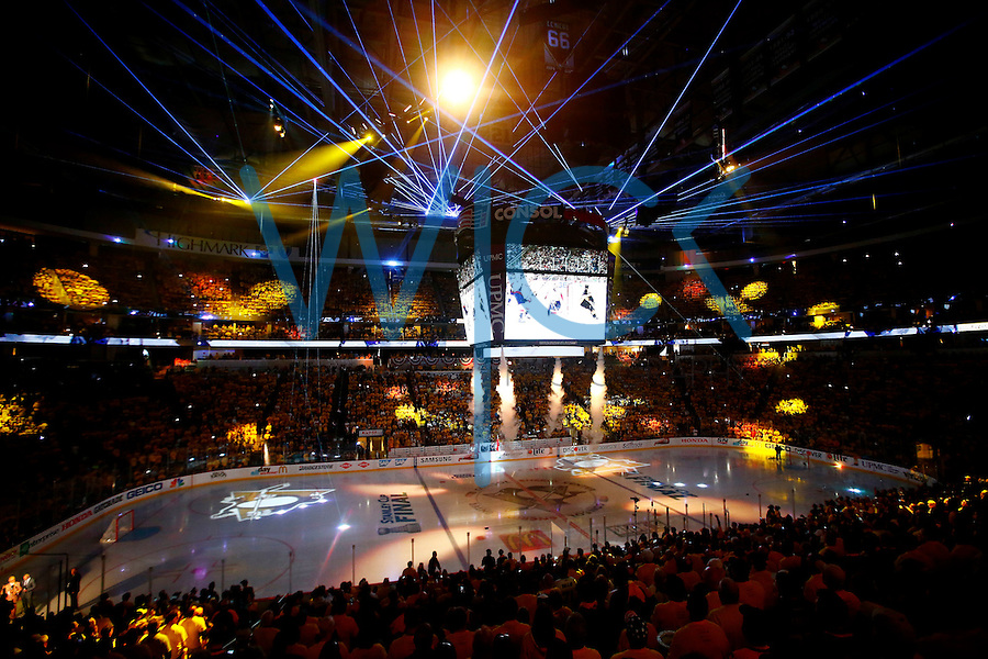 A Pittsburgh Penguins video is shown as lights are displayed prior to game one of the Stanley Cup Finals against the San Jose Sharks at Consol Energy Center in Pittsburgh, Pennslyvania on May 30, 2016. (Photo by Jared Wickerham / DKPS)