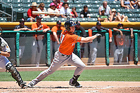 Matt Duffy (17) of the Fresno Grizzlies at bat against the Salt Lake Bees in Pacific Coast League action at Smith's Ballpark on June 14, 2015 in Salt Lake City, Utah.  (Stephen Smith/Four Seam Images)
