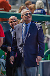 27 April 2014: Theodore N. Lerner, Managing Principal Owner of the Washington Nationals stands in the dugout with his son Mark behind him prior to a game against the San Diego Padres at Nationals Park in Washington, DC. The Padres defeated the Nationals 4-2 to to split their 4-game series. Mandatory Credit: Ed Wolfstein Photo *** RAW (NEF) Image File Available ***