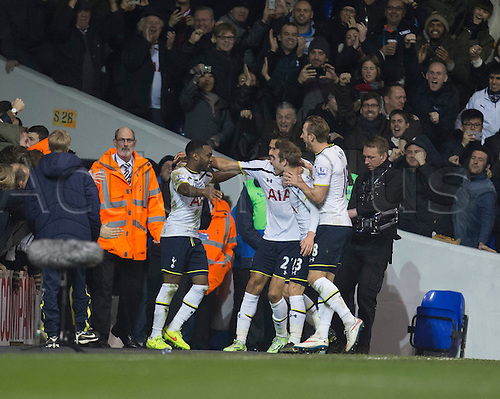 01.01.2015.  London, England. Barclays Premier League. Tottenham versus Chelsea. Tottenham players celebrate their goal scored by Danny Rose.