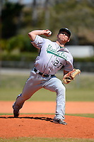 Slippery Rock pitcher John Kovalik (27) during a game against the Wayne State Warriors on March 15, 2013 at Chain of Lakes Park in Winter Haven, Florida.  (Mike Janes/Four Seam Images)