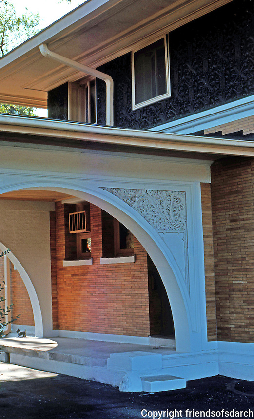 F.L. Wright: Winslow House. Arch, driveway.  Photo '76.