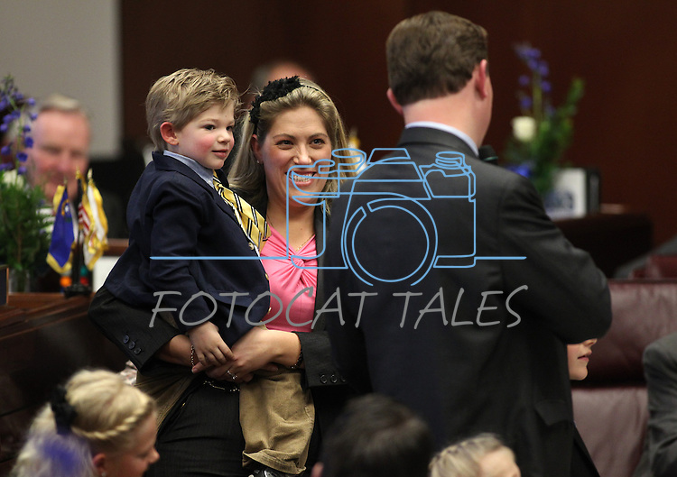 Nevada Sen. Ben Kieckhefer, R-Reno, acknowledges his wife April and their children during the opening day of the 77th Legislative Session in Carson City, Nev. on Monday, Feb. 4, 2013. <br /> Photo by Cathleen Allison