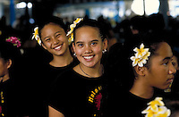 Young girls from Halau Hula Na Hokulani, a hula halau (hula school)