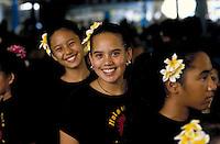 Young girls from Halau Hula Na Hokulani, a hula halau (hula school)