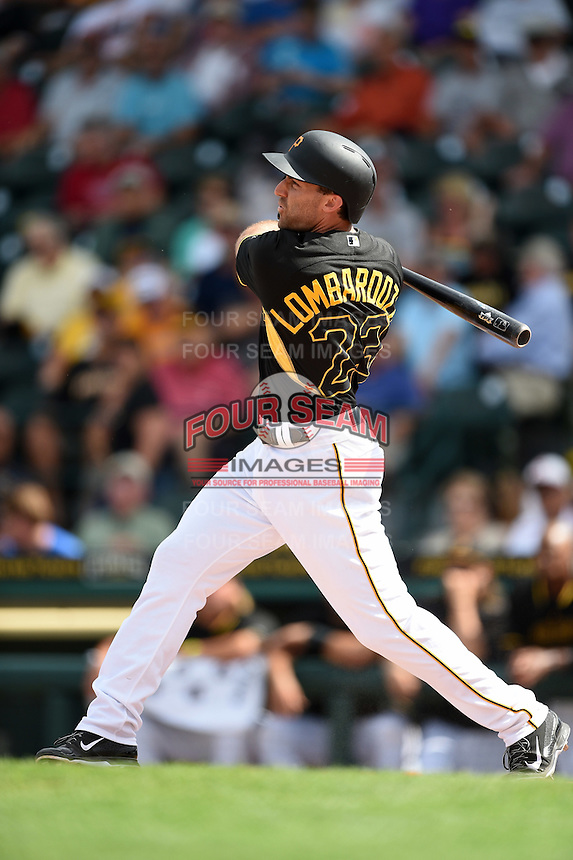 Pittsburgh Pirates second baseman Steve Lombardozzi (23) during a Spring Training game against the Boston Red Sox on March 12, 2015 at McKechnie Field in Bradenton, Florida.  Boston defeated Pittsburgh 5-1.  (Mike Janes/Four Seam Images)