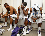 From left, Kansas State's Luis Colon, Victor Ojeleye and Martavious Irving are seen in the locker room after the NCAA West Regional final college basketball game against Butler in Salt Lake City, Saturday, March 27, 2010. Butler won 63-56. (AP Photo/Paul Sakuma)