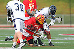 Mission Viejo, CA 05/14/11 - Will Maners (Loyola #30), Andrew Arizmendi (Loyola #8) and Colby Maxwell (Mission Viejo #4) in action during the Division 2 US Lacrosse / CIF Southern Section Championship game between Mission Viejo and Loyola at Redondo Union High School.