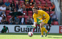 Goalkeeper Alex Cisak of Leyton Orient rolls the ball out during the Sky Bet League 2 match between Leyton Orient and Wycombe Wanderers at the Matchroom Stadium, London, England on 19 September 2015. Photo by Andy Rowland.