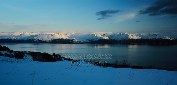 Snow covered Mountains at sunset, Homer, Kachemak Bay, Kenai Peninsula Borough, Alaska, USA, March 2000
