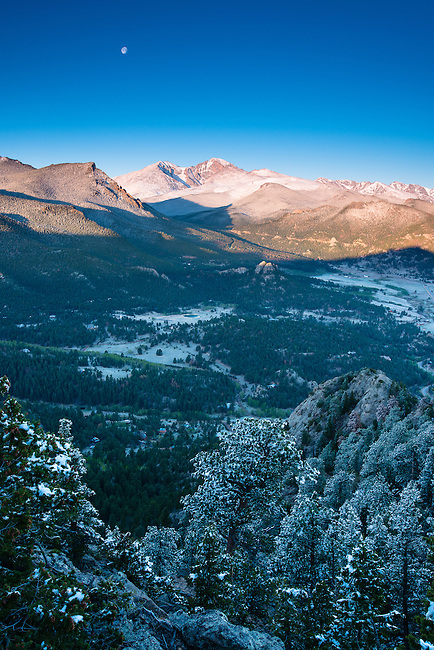Rocky Mountain sunrise from Kruger Rock in Hermit Park, Larimer County Park near Estes Park, Colorado, USA