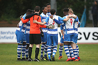 Ilford players huddle during Ilford vs Walthamstow, Essex Senior League Football at Cricklefields Stadium on 6th October 2018