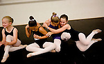 From left, Megan Green, 9, of Rescue, twins Macy and Paige Almendariz, 8, of Sacramento, and Megan Goetz, 9, of Cameron Park celebrate getting parts for the Sacramento Ballet's Nutcracker production on Sunday, September 10, 2006. (Photo by Max Whittaker)