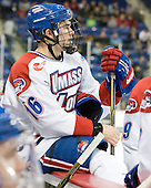 Riley Wetmore (Lowell - 16) - The visiting Northeastern University Huskies defeated the University of Massachusetts-Lowell River Hawks 3-2 with 14 seconds remaining in overtime on Friday, February 11, 2011, at Tsongas Arena in Lowelll, Massachusetts.