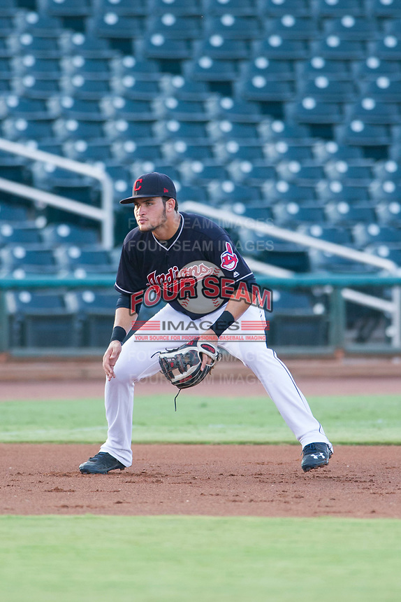 AZL Indians third baseman Henry Pujols (28) on defense against the AZL Rangers on August 26, 2017 at Goodyear Ball Park in Goodyear, Arizona. AZL Indians defeated the AZL Rangers 5-3. (Zachary Lucy/Four Seam Images)