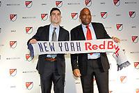Philadelphia, PA - Thursday January 19, 2018: Brian White, Denis Hamlett during the 2018 MLS SuperDraft at the Pennsylvania Convention Center.
