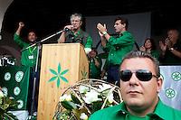 Paesana: Umberto Bossi parla a Paesana alla festa dei popoli padani organizzata dalla Lega Nord per il rito dell'ampolla alle sorgenti del Po.
