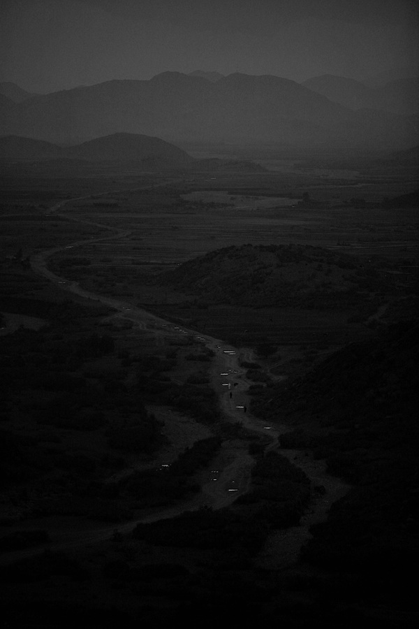 A lone dirt road leads into Afghanistan from Pakistan below Border Security Post 7 in Afghanistan's eastern Khost Province less than a mile from the Afghan-Pakistan border on Sunday Oct. 19, 2008.