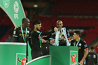 David Silva of Manchester City and Fernandinho of Manchester City and the Trophy.  Aston Villa vs Manchester City, Caraboa Cup Final Football at Wembley Stadium on 1st March 2020