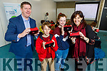 Prof Joe Walsh (IT Tralee), Evan and Cara Joyce and Margie McCarthy (Climate Change Ireland) using 3d Goggles showing climate change in the world at the Kerry Science Festival in the IT Tralee on Saturday.