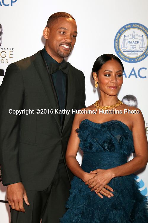 LOS ANGELES - FEB 5:  Will Smith, Jada Pinkett-Smith at the 47TH NAACP Image Awards Arrivals at the Pasadena Civic Auditorium on February 5, 2016 in Pasadena, CA