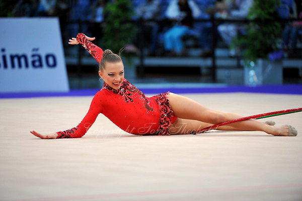 Melitina Staniouta of Belarus performs in Event Finals at 2010 World Cup at Portimao, Portugal on March 14, 2010.  (Photo by Tom Theobald).