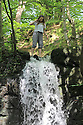 01/06/14 <br /> <br /> Chloe Banks, 21, cools off by waterfalls in the Lumsdale Valley near Matlock, in The Derbyshire Peak District.<br /> <br /> All Rights Reserved - F Stop Press.  www.fstoppress.com. Tel: +44 (0)1335 300098